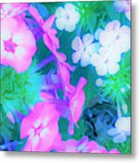 Garden Flowers In Pink, Green And Blue Metal Print