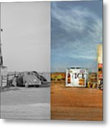 Gas Station - In The Middle Of Nowhere 1940 - Side By Side Metal Print