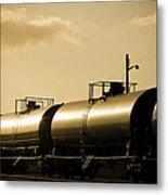 Gasoline Train At Sunset Metal Print