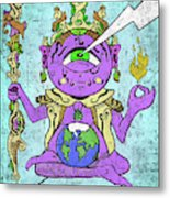 Gautama Buddha Colour Illustration Metal Print