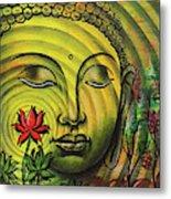 Gautama Buddha Ripple Effect Portrait Metal Print
