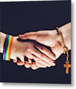 Gay And Christian Person Shaking Hands Metal Print