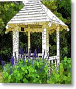 Gazebo In A Beautiful Public Garden Park 3 Metal Print