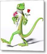 Gecko In Love Metal Print