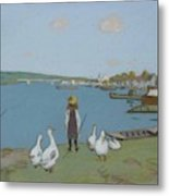 Geese By The River Loing 02 Metal Print