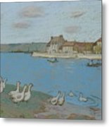 Geese By The River Loing 03 Metal Print