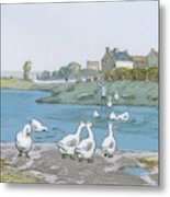 Geese By The River Loing 04 Metal Print