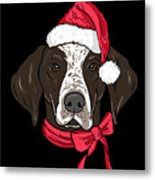 German Shorthair Xmas Hat Dog Lover Christmas Metal Print