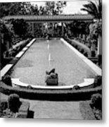 Getty Villa Massive Pool Black White Landscape  Metal Print