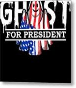 Ghost Elected Cute Halloween Spirit In American Flag Dark Metal Print