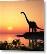 Giant Dinosaur In The Background Of The Metal Print