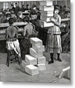 Girl Carrying Boxes Cigarette Factory Metal Print