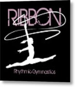 Girl Competing In Female Rhythmic Gymnastics Jumping With A Ribbon Metal Print