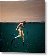 Girl Snorkelling Metal Print