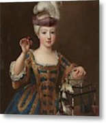 'girl With A Bird Cage'. Ca. 1712. Oil On Canvas. Metal Print