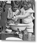 Girls 6-7 Washing Hands In Wash Bowl Metal Print