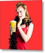 Glamorous Woman Holding Popcorn Metal Print