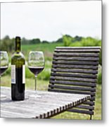 Glasses And A Bottle Of Red Wine On An Metal Print