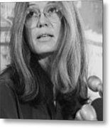 Gloria Steinem At A Press Conference Metal Print