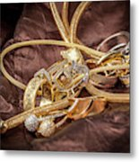 Gold Jewelry Close Up Metal Print