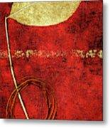 Golden Leaf On Bright Red Paper Metal Print