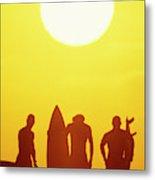 Golden Surf Silhouettes Metal Print