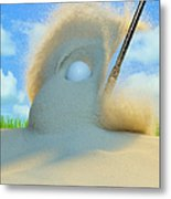 Golf Ball Being Driven Out Of A Sand Metal Print