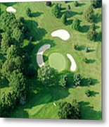Golf Course Close Up From The Air Metal Print