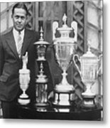 Golfer Bobby Jones With Golf Trophies Metal Print