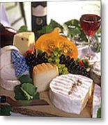 Gourmet Cheese Plate With Red Wine Metal Print