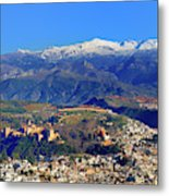 Granada, The Alhambra And Sierra Nevada From The Air Metal Print