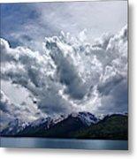 Grand Teton Mountains And Clouds Metal Print