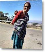 Grandchild And Grandmother Shimla Himachal Pradesh Metal Print
