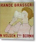 Grande Brasserie, 1894 Belgian Vintage Brewery Poster Metal Print