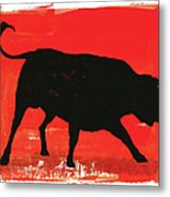 Graphic Bull Illustration Metal Print