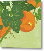 Graphic Illustration Of Pumpkins Metal Print