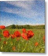 Grassland And Red Poppy Flowers 3 Metal Print