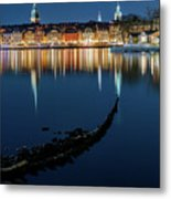 Gray Wolf Shipwreck And Stockholm Gamla Stan Fantastic Reflection In The Baltic Sea  Metal Print