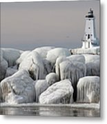 Great Lakes Lighthouse With Ice Covered Metal Print