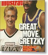 Great Move, Gretzky Magic Johnson Welcomes Wayne Gretzky To Sports Illustrated Cover Metal Print