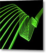 Green Abstract Coloured Lights Trails Metal Print