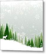 Green And White Winter Forest Grunge Metal Print