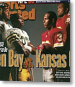 Green Bay Packers And Kansas City Chiefs, 1996 Nfl Football Sports Illustrated Cover Metal Print