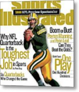 Green Bay Packers Qb Brett Favre, 1998 Nfl Football Preview Sports Illustrated Cover Metal Print