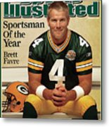 Green Bay Packers Qb Brett Favre, 2007 Sportsman Of The Year Sports Illustrated Cover Metal Print
