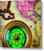 Green Compass And Old Key Metal Print