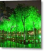 Green Illuminated Trees, China Metal Print