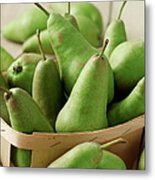 Green Pears In Punnet And Wooden Table Metal Print