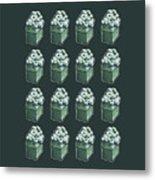 Green Present Pattern Metal Print