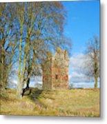 Greenknowe Tower In Late Winter Sun Scottish Borders Metal Print